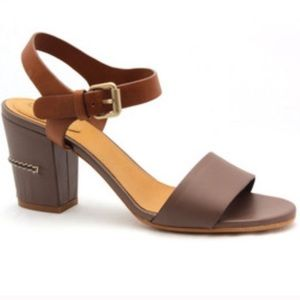 CHLOE | TWO TONE ANKLE WRAP STACKED HEEL SANDALS